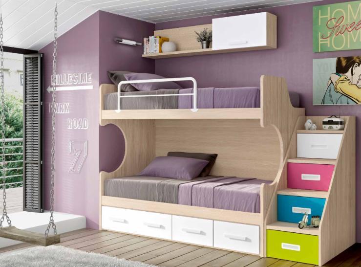 Literas trenes muebles juveniles dormitorios juveniles for Precios de dormitorios infantiles