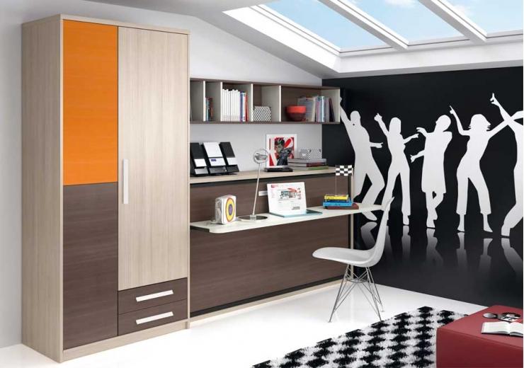 Camas abatibles muebles juveniles dormitorios juveniles for Habitaciones juveniles abatibles